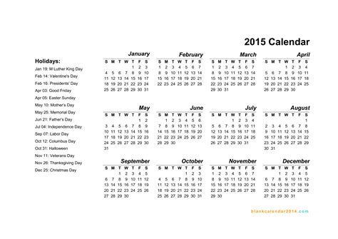 2015 calendar template with holidays 6 best images of 2015 yearly calendar printable free pdf
