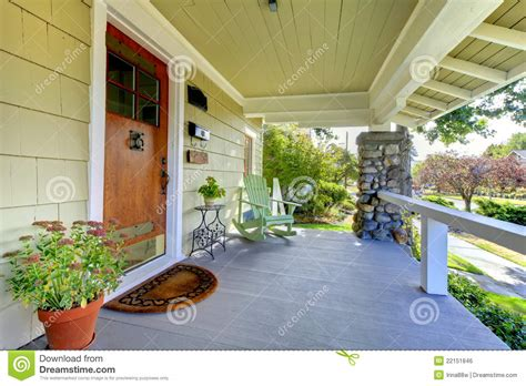 Home Plans Craftsman Covered Front Porch Craftsman Style Home Royalty Free