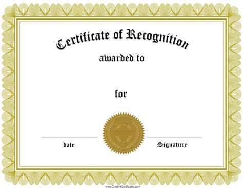 downloadable certificate templates free certificate of recognition template customize