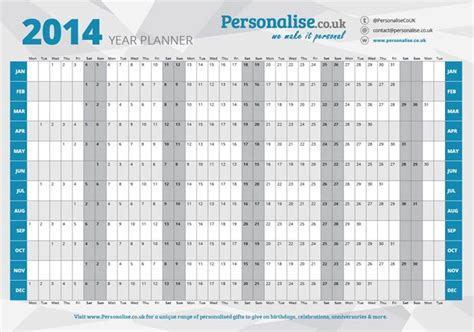 Yearly Wall Planner 2014 Free Autos Post | 2014 wall planner html autos post