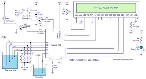 water tank level controller circuit diagram water level controller using arduino water level
