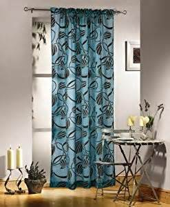 Teal Brown Curtains Brown Teal Blue Net Voile Curtain Panel