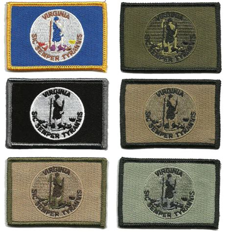state tactical patches 2 quot x3 quot virginia state tactical patch sic semper tyrannis
