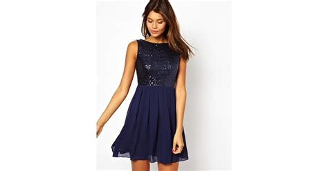 Who Wore It Better Sequined Balenciaga Babydoll Dress by Lyst Tfnc Babydoll Dress With Sequin Bodice In Blue