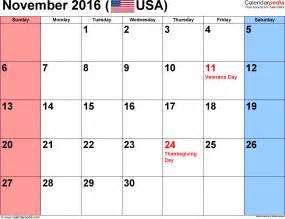 Kalender 2016 Nov November 2016 Calendars For Word Excel Pdf