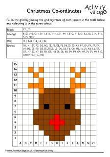 Christmas coordinates worksheets