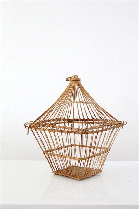 vintage wicker birdcage woven reed bird cage by 86home
