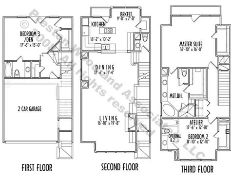 three story floor plans hillside house plans 3 story house plans narrow lot