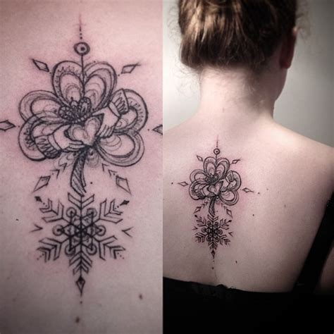 royal clover snowflake back tattoo best tattoo ideas gallery