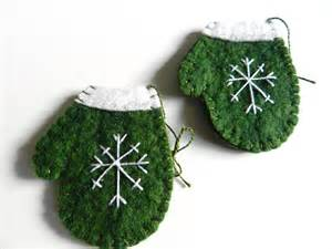 handmade christmas wool felt ornament snowflake on by