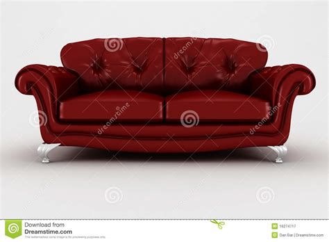 3d Red Leather Couch Studio Render Royalty Free Stock
