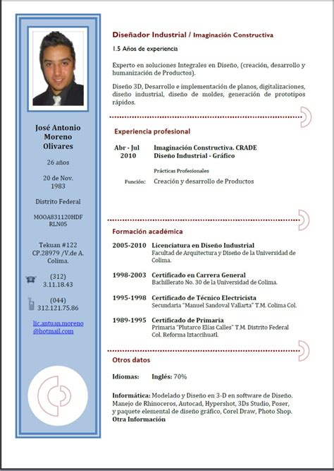 Modelo De Curriculum Vitae Actualizado 2012 En Word Mono Auto Existente Azul Curriculum Vitae