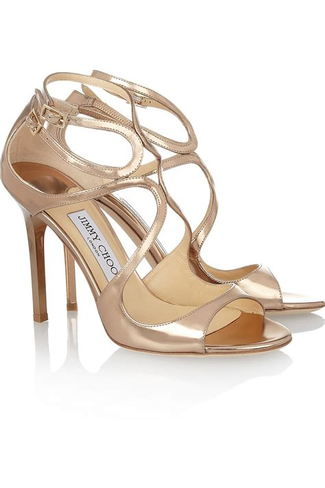 jimmy choo sandals jimmy choo lang mirrored leather sandals in gold lyst