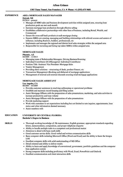 mortgage resume sles mortgage sales resume sles velvet