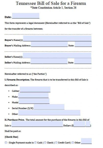 printable tennessee vehicle bill of sale free tennessee firearm gun bill of sale form pdf word