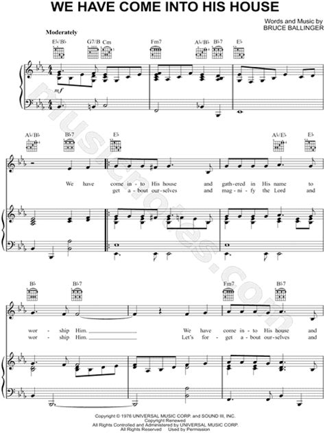 we have come into his house the gaithers quot we have come into his house quot sheet music in