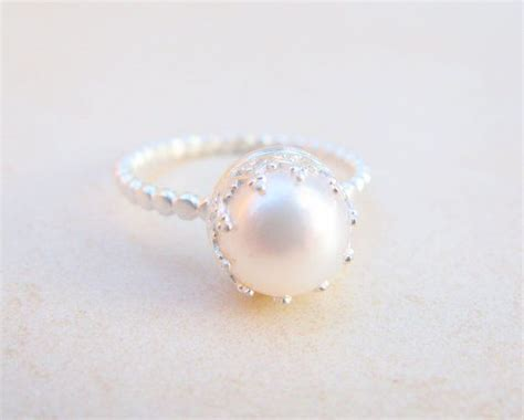 pearl engagement rings pearl ring engagement ring silver ring pearl wedding