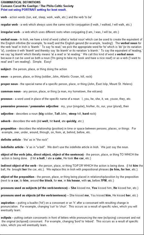 Text Box: GRAMMATICAL DEFINITIONSCumann Carad Na Gaeilge