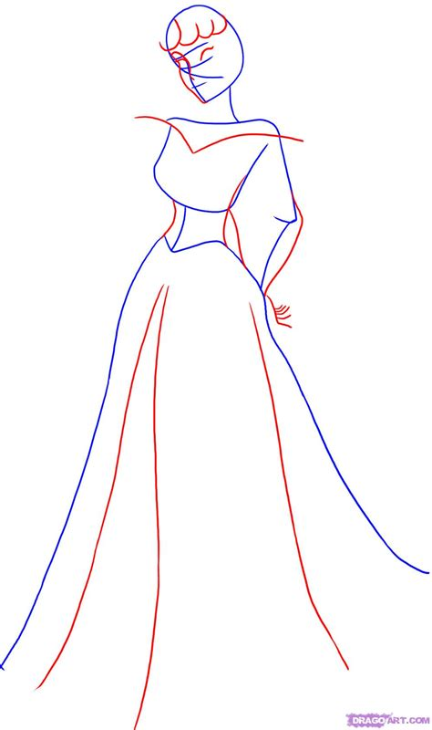 How To Draw Sleeping Beauty Ninda27 How To Draw A Princess Dress Step By Step Printable