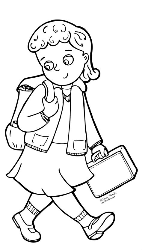 free coloring pages of a boy going to school