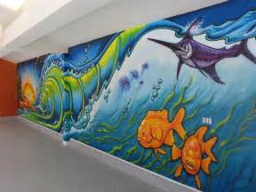 Wave Wall Mural art murals by drew brophy interior exterior