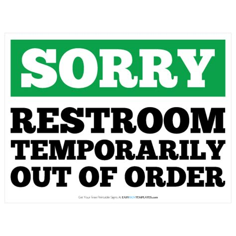 Restroom Out Of Order Printable Sign Template Free Printable Sign Templates Pinterest More Out Of Service Sign Template