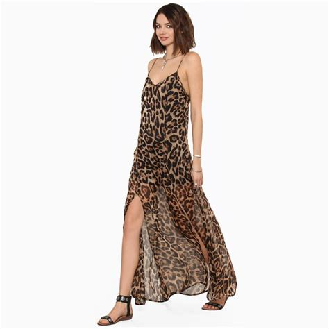 Big Size Leopard Print Dress M 6xl Vzrd witsources maxi dress v neck spaghetti backless leopard print chiffon