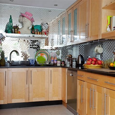 kitchen tile ideas uk glamorous kitchen with mirrored tiles housetohome co uk