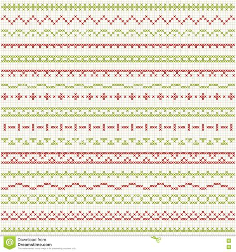 christmas pattern border thin borders for christmas cross stitch embroidery stock