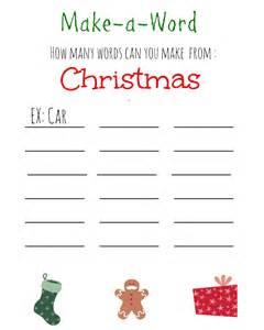 Christmas games for kids free printable christmas make a word game