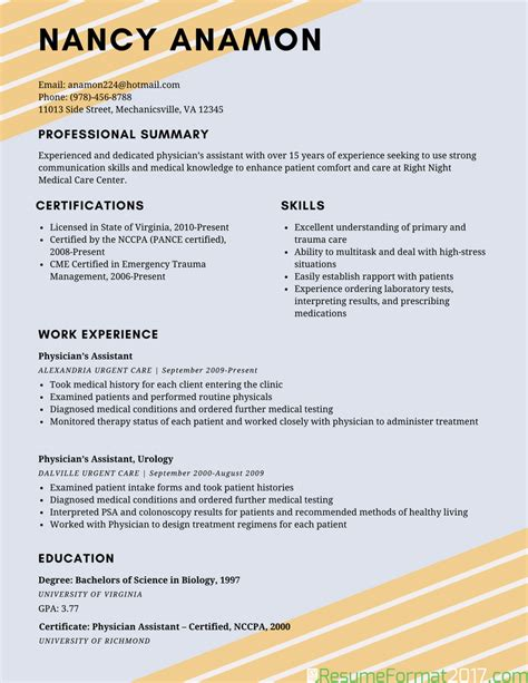exle of best resume format 2018 resume format 2017