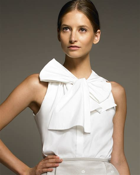 Bow Neck Blouse by Jason Wu Bow Neck Blouse In White Lyst