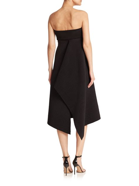 Dress Origami - lyst milly strapless neoprene origami dress in black