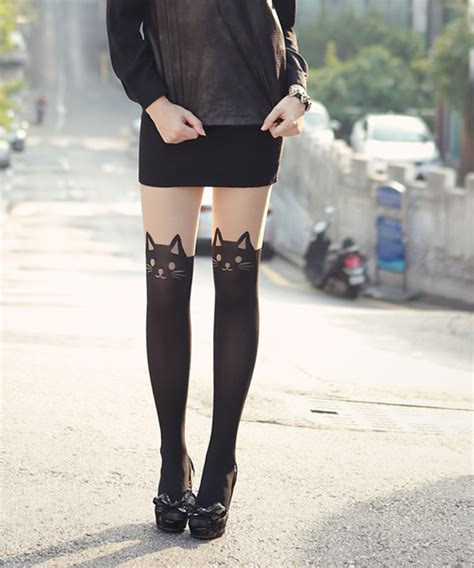 Cat Print Tights storets cat print tights kstylick korean