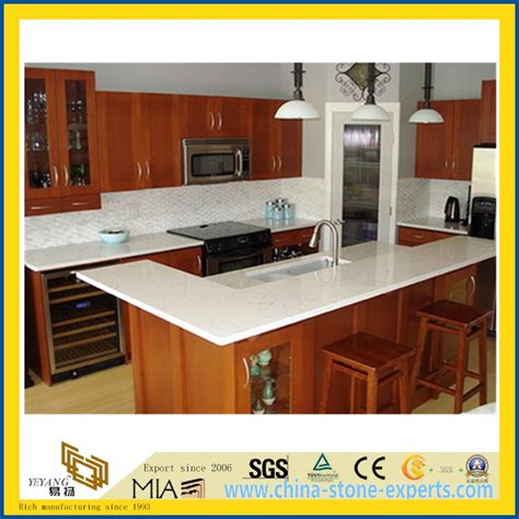 Artificial Kitchen Countertops by White Artificial Quartz Countertop For Kitchen