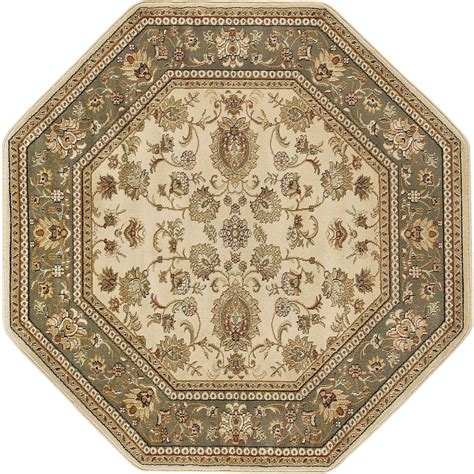 Tayse Rugs Sensation Beige 5 Ft 3 In Octagon Traditional Octagon Shaped Area Rugs