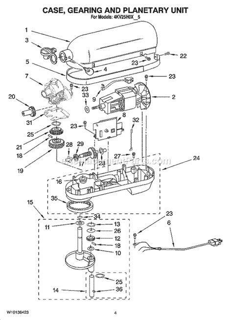 Kitchenaid Parts List Mixer Kitchenaid 4kv25h0xwh5 Parts List And Diagram