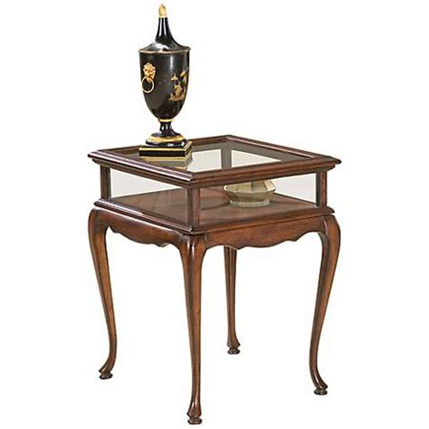 glass top curio table plantation cherry and glass curio table u4822 ls plus