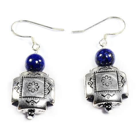 Handmade Silver Earrings Uk - lapis lazuli 925 sterling silver earrings handmade