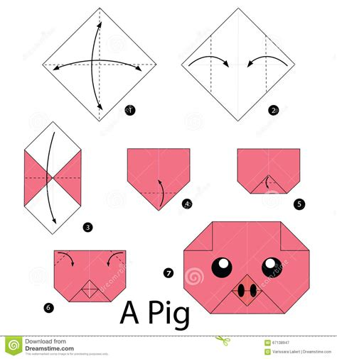 Simple Origami Pig - step by step how to make origami a pig stock