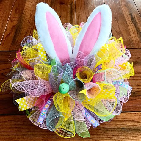 Easter Centerpiece In Deco Mesh With Bunny Ears By Easter Arrangements Centerpieces