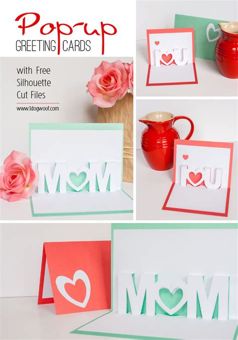 popup cards templates mothers day i you pop up cards with free silhouette cut