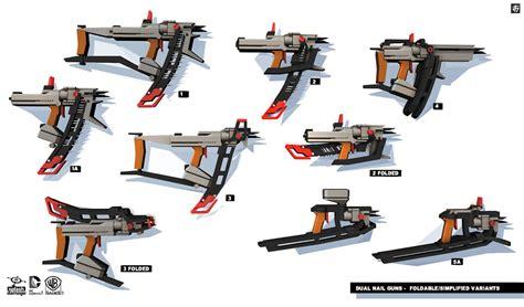 design concept of handheld nailer dual nail guns characters art batman arkham origins