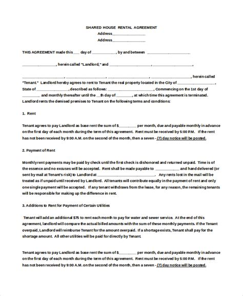 Agreement Letter For Rental House House Rental Agreement Template 9 Free Word Pdf