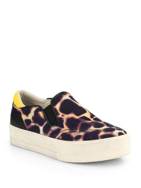 ash jungle animalprint canvas laceless sneakers in animal