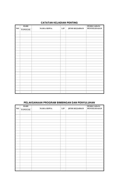 format buku catatan kasus guru buku administrasi guru kelas sd
