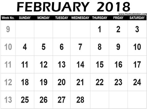 printable calendar 2018 large numbers february 2018 printable calendar templates