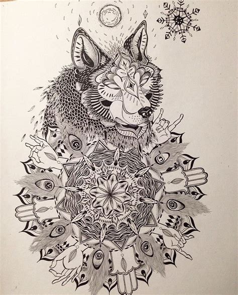 tattoo commission tattoo tattoos wolf mandala drawing