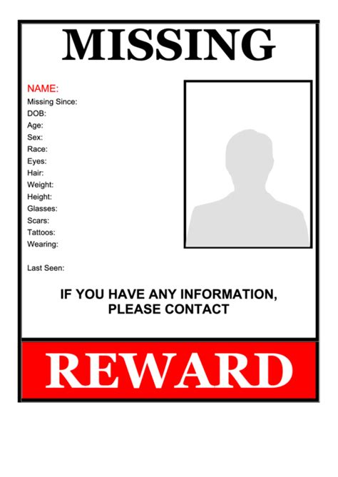 printable missing poster missing person flyer template printable pdf download