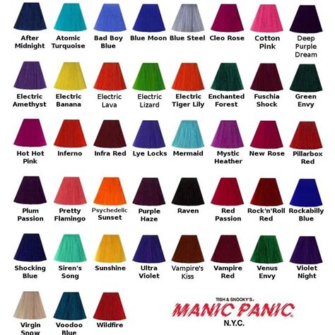 manic panic hair color chart manic panic blue steel hair colour 118ml the